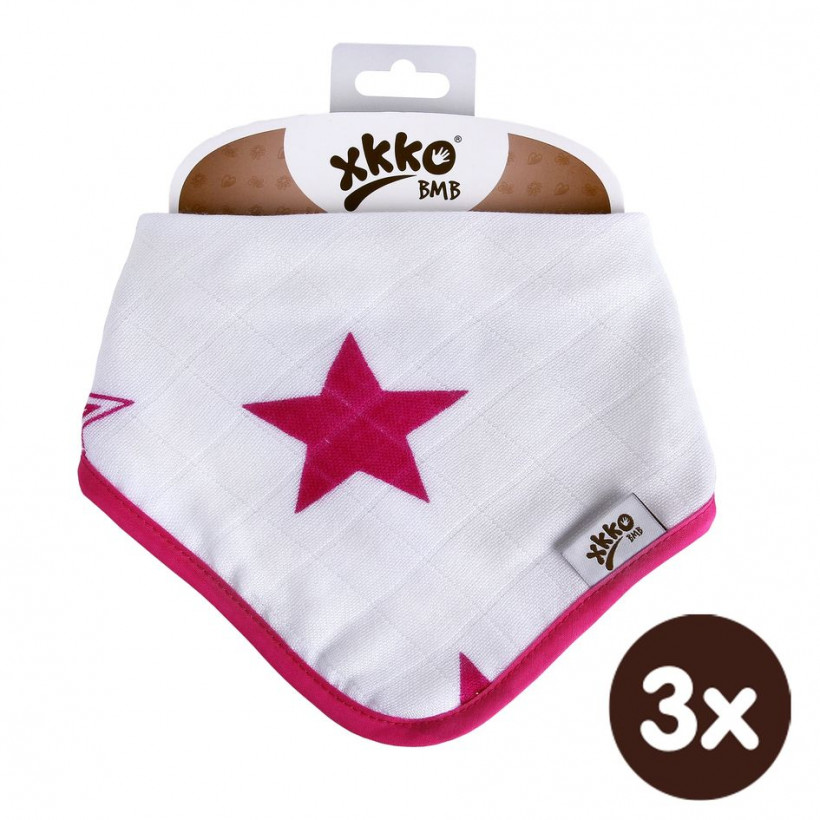 Bamboo bandana XKKO BMB - Magenta Stars 3x1ps Wholesale packing