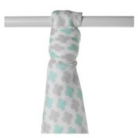 Bamboo muslin towel XKKO BMB 90x100 - Mint Cross 10x1pcs (Wholesale packaging)