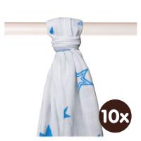 Bamboo muslin towel XKKO BMB 90x100 - Cyan Stars 10x1pcs (Wholesale packaging)