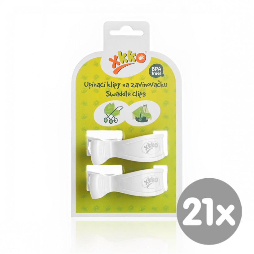 Pram Clips XKKO - White 21x2ps (Wholesale pack.)