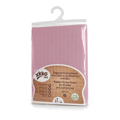 Bamboo muslin fitted sheet XKKO BMB 50x70 - Baby Pink