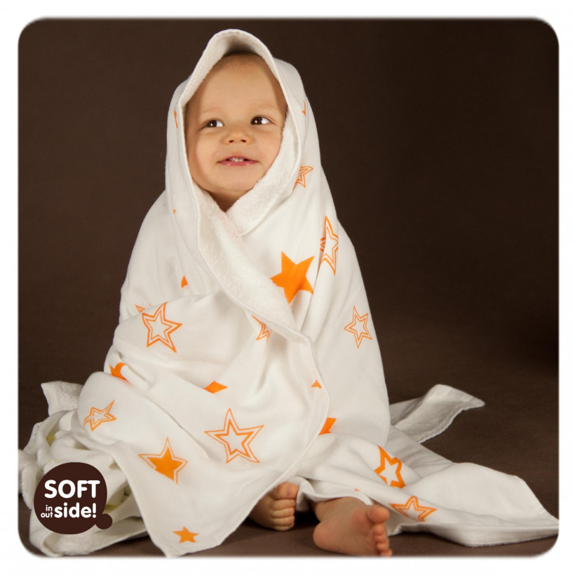 Bamboo blanket XKKO BMB 130x70 - Orange Stars