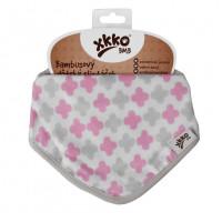 Bamboo bandana XKKO BMB - Baby Pink Cross 3x1ps Wholesale packing