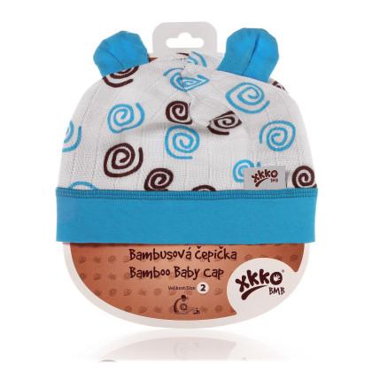 Bamboo Baby Hat XKKO BMB - Cyan Spirals