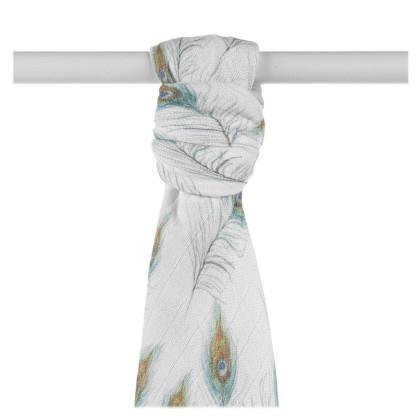 Bamboo muslin towel XKKO BMB 90x100 Digi - Peacock Feathers