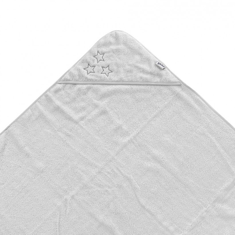 Hooded terry bath towel XKKO Organic 90x90 - White Stars