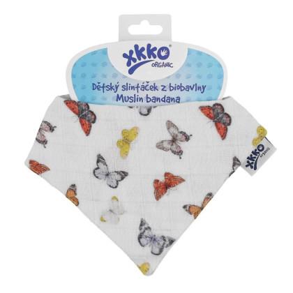 Organic Cotton Muslin Bandana XKKO Organic - Butterflies