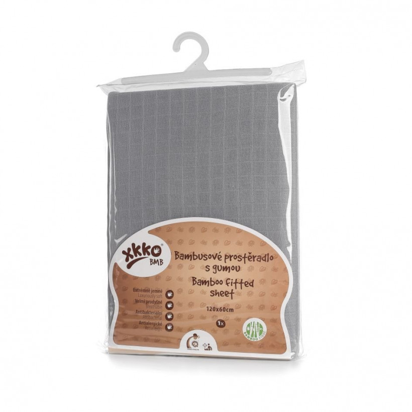 Bamboo muslin fitted bed sheet XKKO BMB 120x60 - Baby Grey