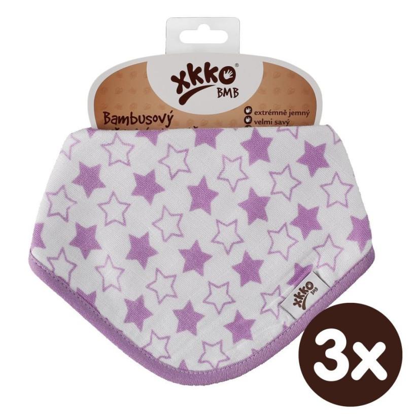 Bamboo bandana XKKO BMB - Little Stars Lilac 3x1ps Wholesale packing
