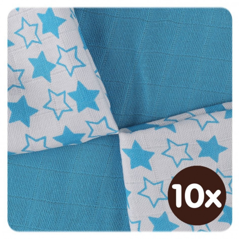 Bamboo muslins XKKO BMB 30x30 - Litte Stars Cyan MIX 10x9pcs (Wholesale packaging)