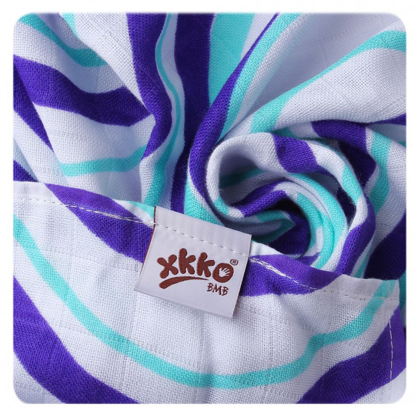 Bamboo muslins XKKO BMB 70x70 - Hearts&Waves Ocean Blue MIX 3pcs