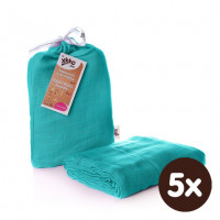 Bamboo swaddle XKKO BMB 120x120 - Turquoise 5x1ps (Wholesale packaging)