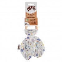 XKKO BMB Bamboo teether with Leaves Digi - Blue Wildflowers