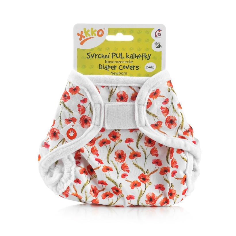 XKKO Diaper Cover Newborn - Red Poppies