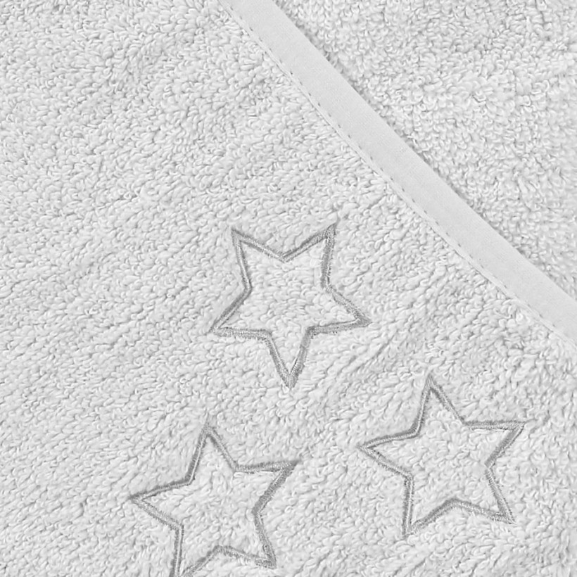 Hooded terry bath towel XKKO Organic 90x90 - White Stars 5x1ps (Wholesale pack.)