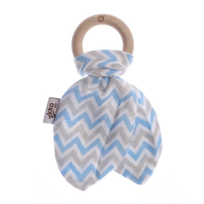 XKKO BMB Bamboo teether with Leaves - Chevron Baby Blue