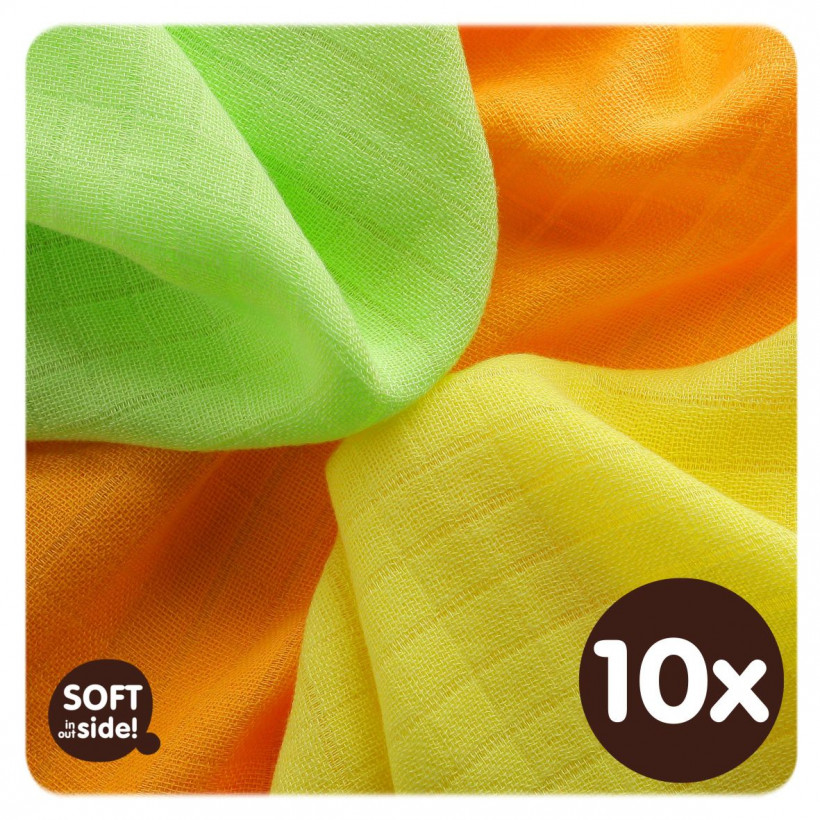 Bamboo muslins XKKO BMB 30x30 - Colours MIX 10x9pcs (Wholesale packaging)