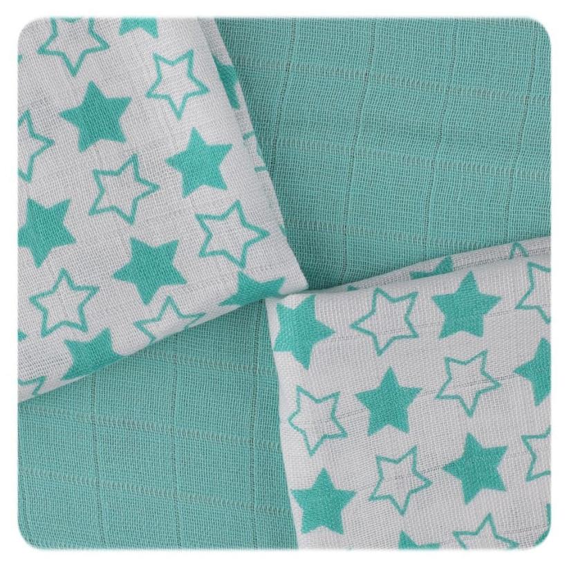 Bamboo muslins XKKO BMB 30x30 - Little Stars Turquoise MIX 9pcs