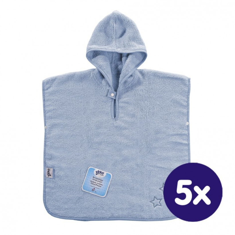 Organic cotton terry Poncho XKKO Organic - Baby Blue Stars 5x1ps (Wholesale pack.)