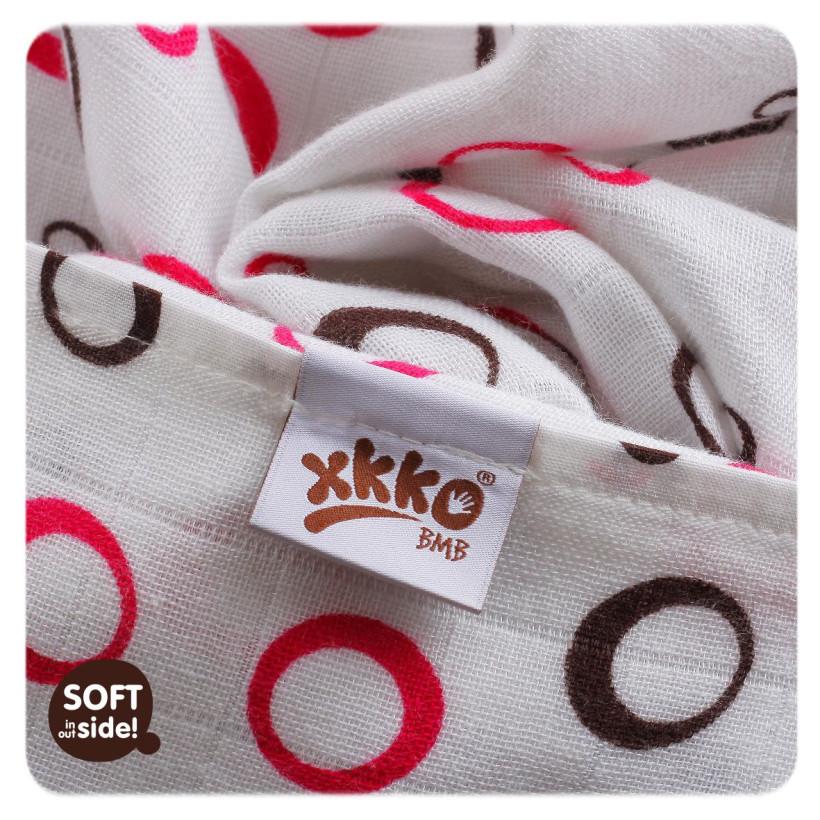 Bamboo muslin towel XKKO BMB 90x100 - Magenta Bubbles 10x1pcs (Wholesale packaging)