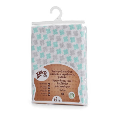Bamboo muslin fitted sheet XKKO BMB 50x70 - Mint Cross