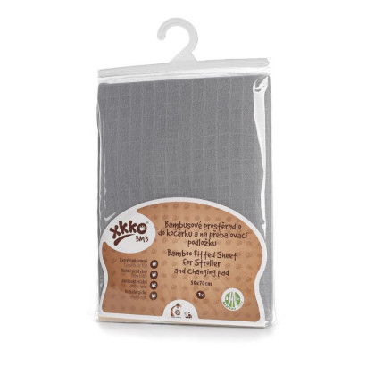 Bamboo muslin fitted sheet XKKO BMB 50x70 - Baby Grey