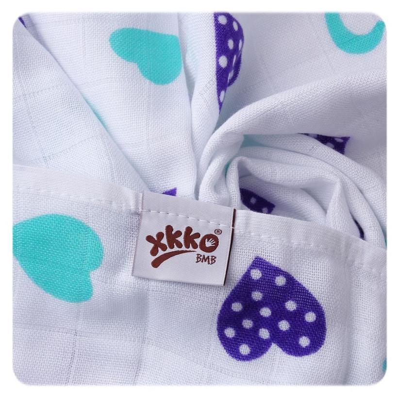 Bamboo muslin towel XKKO BMB 90x100 - Ocean Blue Hearts 10x1pcs (Wholesale packaging)
