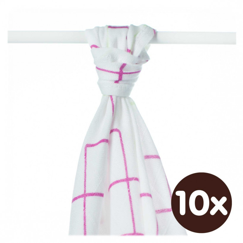Bamboo muslin towel XKKO BMB 90x100 - Magenta Squares 10x1pcs (Wholesale packaging)