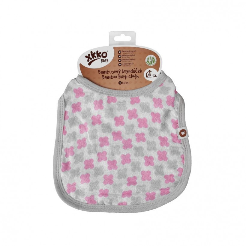 Bamboo Burp Cloth XKKO BMB - Baby Pink Cross 3x1ps (Wholesale packaging)