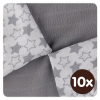 Bamboo muslins XKKO BMB 30x30 - Little Stars Silver MIX 10x9pcs (Wholesale packaging)