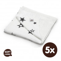 Bamboo blanket XKKO BMB 130x70 - Silver Stars 5x1ps Wholesale packing