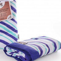 Bamboo muslin blanket XKKO BMB 100x100 - Ocean Blue Waves 5x1ps (Wholesale packing)