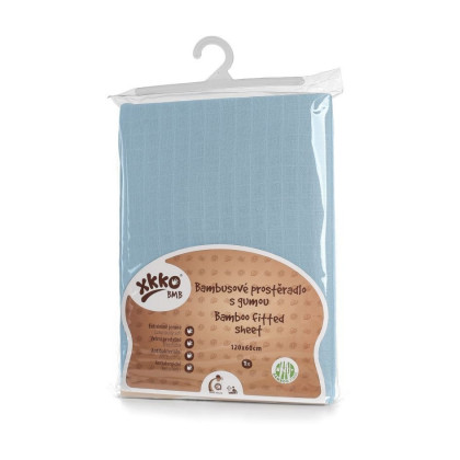 Bamboo muslin fitted bed sheet XKKO BMB 120x60 - Baby Blue