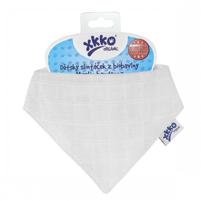 Organic Cotton Muslin Bandana XKKO Organic - White