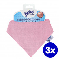 Organic Cotton Muslin Bandana XKKO Organic - Pink 3x1ps (Wholesale pack.)