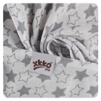 Bamboo swaddle XKKO BMB 120x120 - Little Stars Silver 5x1ps (Wholesale packaging)