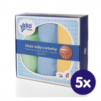 Organic Cotton Muslin Towels XKKO Organic 90x100 Old Times - Pastels For Boys 5x3ps (Wholesale pack.)