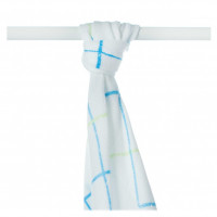 Bamboo muslin towel XKKO BMB 90x100 - Cyan Squares 10x1pcs (Wholesale packaging)