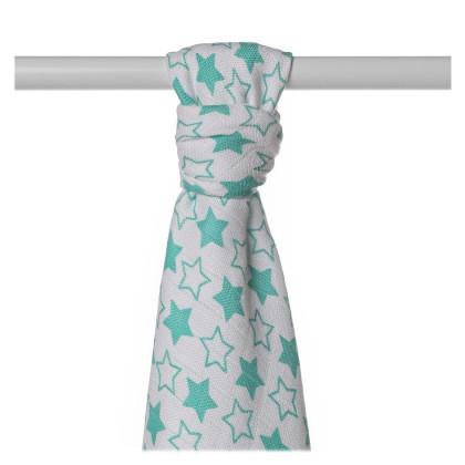 Bamboo muslin towel XKKO BMB 90x100 - LIttle Stars Turquoise
