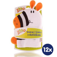 XKKO Cotton Bath Glove - Zebra 2 12x1ps (Wholesale pack.)