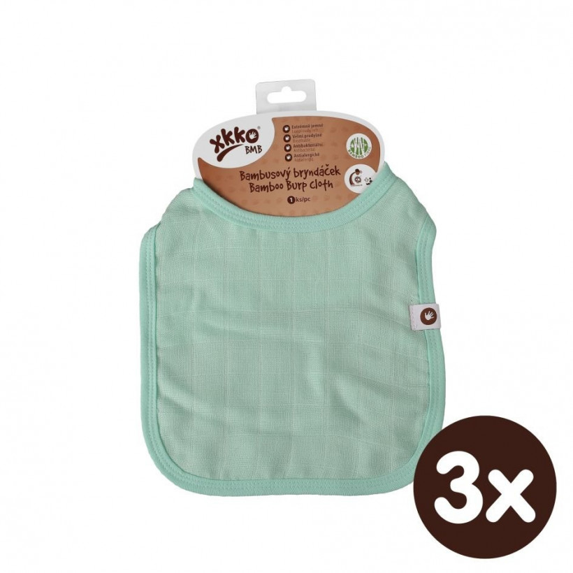 Bamboo Burp Cloth XKKO BMB - Mint 3x1ps (Wholesale packaging)