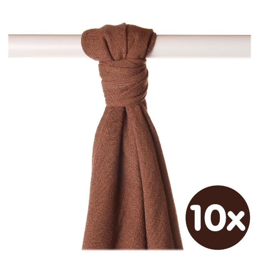Bamboo muslin towel XKKO BMB 90x100 - Milk Choco 10x1pcs (Wholesale packaging)