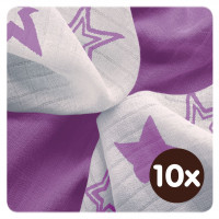 Bamboo muslins XKKO BMB 30x30 - Lilac Stars MIX 10x9pcs (Wholesale packaging)
