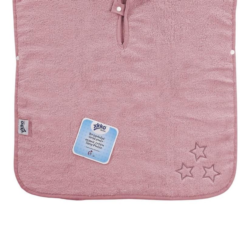 Organic cotton terry Poncho XKKO Organic - Baby Pink Stars
