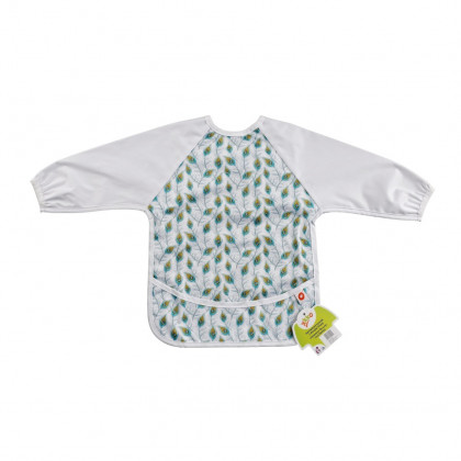 XKKO long-sleeve bib - Peacock Feathers