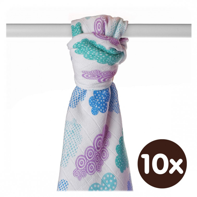 Bamboo muslin towel XKKO BMB 90x100 - Heaven For Boys 10x1pcs (Wholesale packaging)