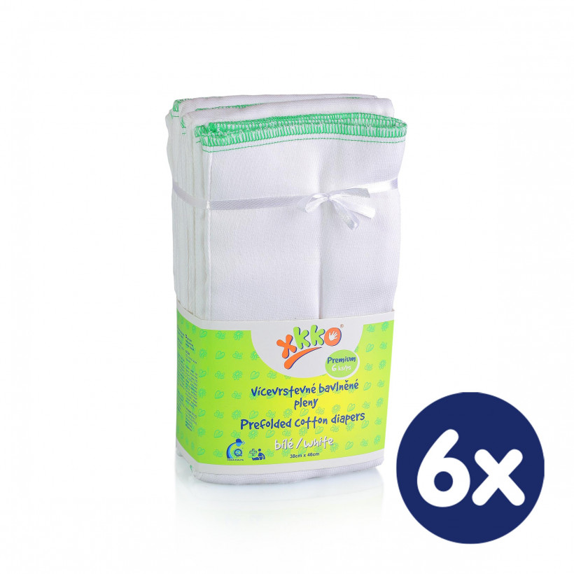 Prefolded Diapers XKKO Classic - Premium White 6x6ps (Wholesale pack.)