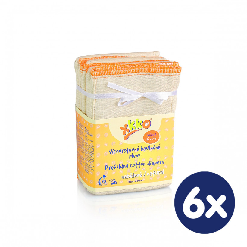 Prefolded Diapers XKKO Classic - Infant Natural 6x6ps (Wholesale pack.)