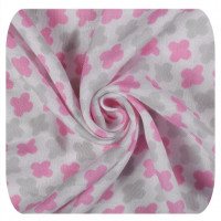 Bamboo swaddle XKKO BMB 120x120 - Baby Pink Cross 5x1ps (Wholesale packaging)