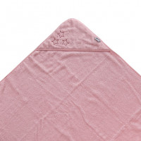 Hooded terry bath towel XKKO Organic 90x90 - Baby Pink Stars